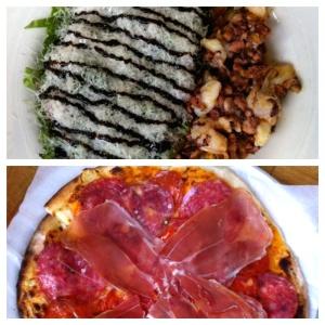 Ensalada marinera y pizza olivia