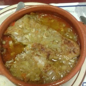 Filete de Corvina al Ajillo en Cazuela