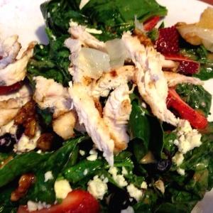 Seasonal berries and spinach salad