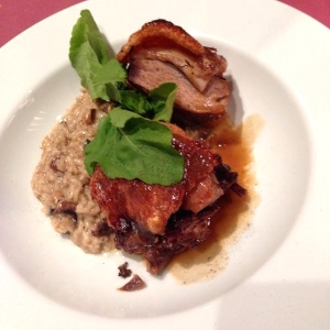 Lechon con risotto porcini